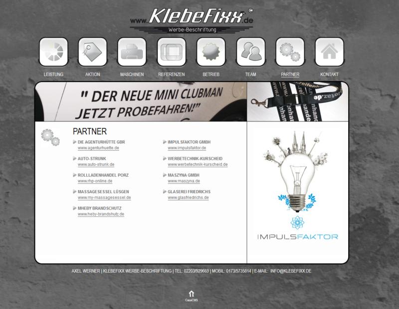 Webseite vor dem Relaunch | klebefixx.de