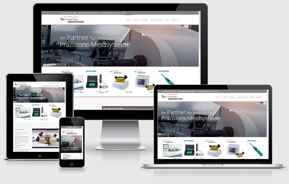 Maschinenbauer Homepage, Responsive Mockup, Schnettler Technologies